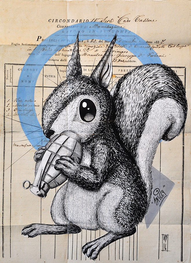 Alessio Bolognesi (Sfiggy) - Bombing squirrel, 2016, 42x30cm