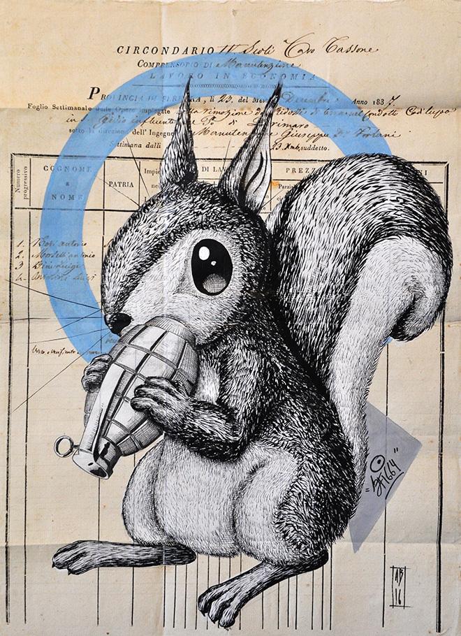 Alessio Bolognesi (Sfiggy) - Bombing squirrel, 2016, 42x30cm