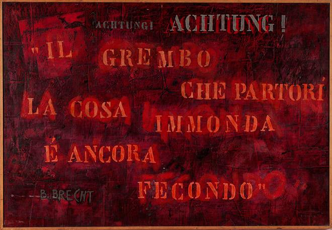 Bruno Canova - La cosa immonda, 1974, collage, acrilico e tecnica mista su tela, cm. 151 x 220.