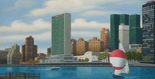 Aldo Damioli - Venezia New York, 2016 acrilico su tela, cm 80x100