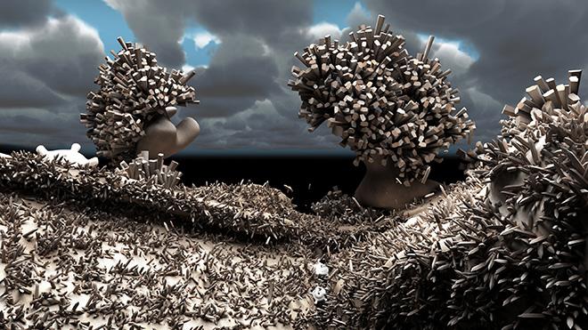 Giuliana Cunéaz - Matter waves chrome, 2014-2016, animazione 3D, videoinstallazione