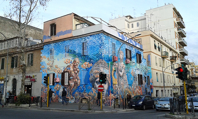 Carlos Atoche - Murale Tor Pignattara, Roma