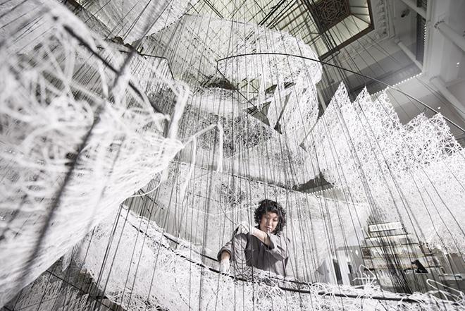Chiharu Shiota - Where are we going?, 2017, installation Bon Marché Rive Gauche, Paris. photo credit: Gabriel de la Chapelle