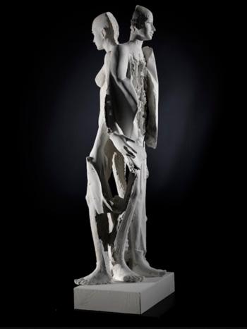 Giorgio Conta - Le due metà, 2016, gesso / plaster, 90x30x25 cm
