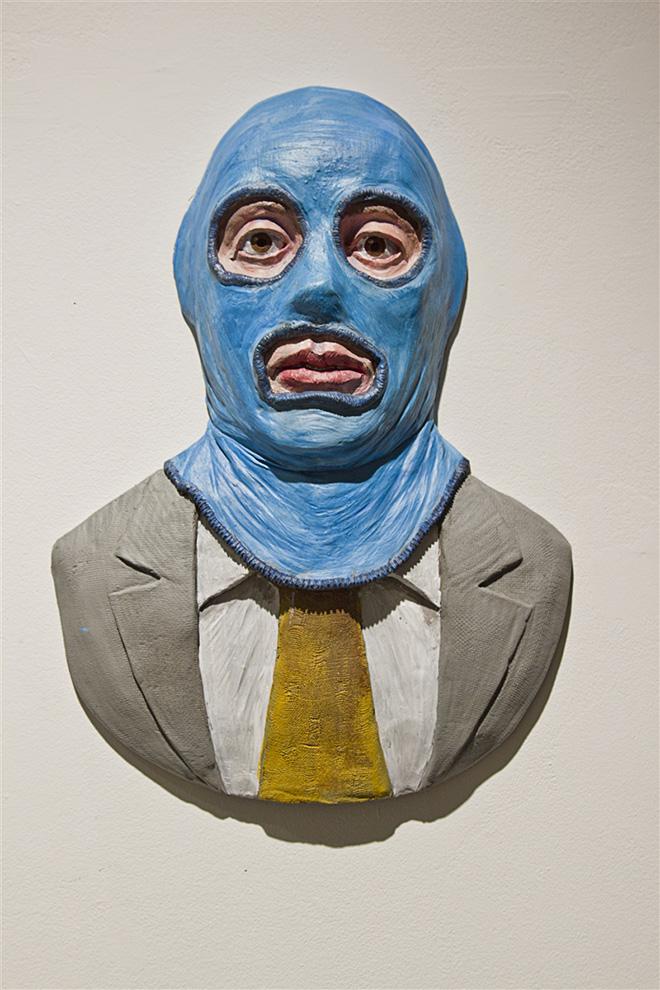 Isaac Cordal - Goldman, portrait. Polyurethane resin. 37 X 26,5 x 7CM, 2017.