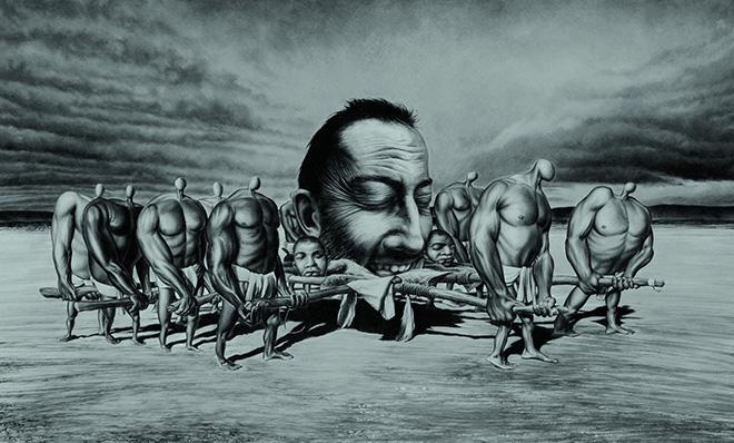 José Molina - Il Potere, 2011, collezione Los Olvidados, matita grassa su carta, cm 97x130. photo credit: ©Ernesto Blotto