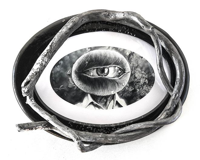 José Molina - Una sola lacrima, 2014, collezione Peccati e Virtù, matita grassa su carta, cm 45x60. photo credit:©Ernesto Blotto