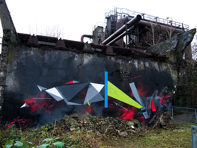 Remi Rough - Urban Art Biennale Volklinger, 2014. Collaboration with LX One