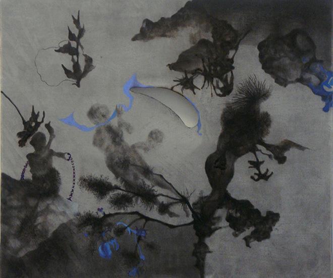 Shen Ruijun  - Lake (Thunder Series), 2009. Inchiostro, tempera, acquerello su seta / Ink, tempera, watercolor on silk, 43 x 51 cm. Courtesy l'artista / the artist e / and Gallery Yang