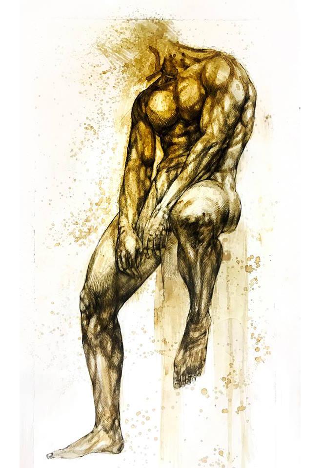 Giovanni Manzoni Piazzalunga - Particolare de L'eroe nudo, versione finale, 2017