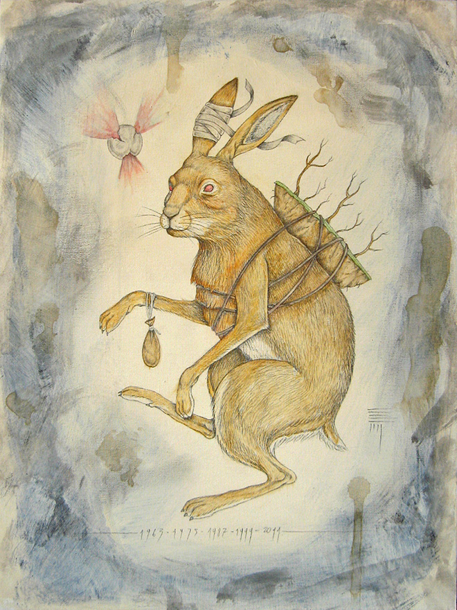 P54 - Rabbit, pencil and watercolor on canvas, Zodiac Project
