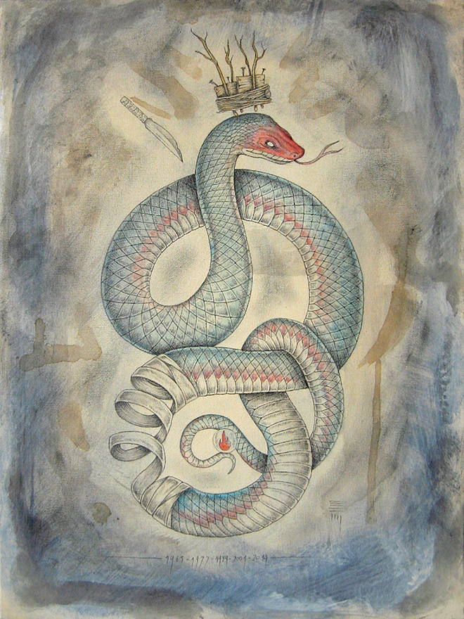 P54 - Snake, watercolor and pencil on canvas, Zodiac project