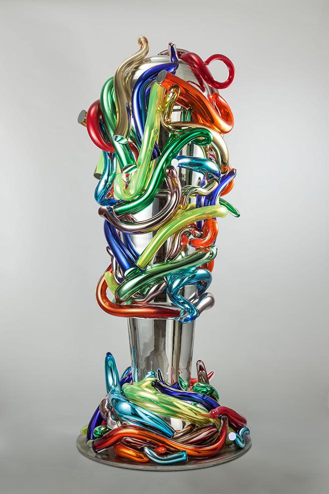 Marialuisa Tadei - Incontro, 2015, vetro soffiato, acciaio inossidabile, cm 207x90x85. © Marialuisa Tadei