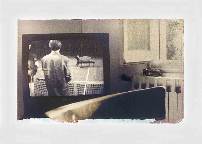 Fabrizio Ceccardi - Senza titolo, serie CE CÔTÉ L'AVANT DE L'OBJECTIF, 1992, Polaroid transfer e acquerelli su carte Fabriano - Arches