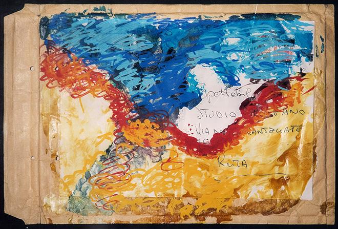 Mario Schifano - Busta, 1990-97, tecnica mista su busta, cm 25,7x34,4