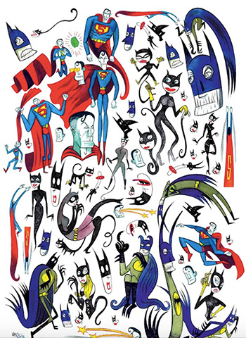 Massimo Giacon - Super Heroes Mix, 2017, serigrafia, tecnica mista, cm 100x70