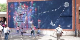 "Opiemme - Pesci/Pisces, 2017, murale collettivo I.C. ""Via G. Messina"", Cinecittà, Roma"