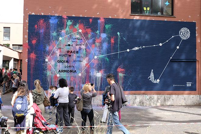 Opiemme - Pesci/Pisces, 2017, murale collettivo I.C. Via G. Messina, Cinecittà, Roma