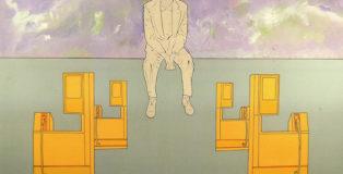 Renato Mambor - Memorie di un benzinaio, 2010, olio e smalto su tela grezza, cm 100x150