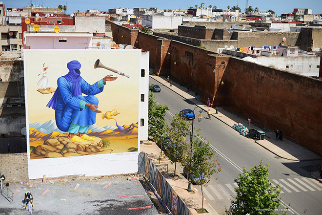 Waone, Interesni Kazki - Jidar festival, Street art Rabat, 2017. photo credit: ©Walid BEN BRAHIM