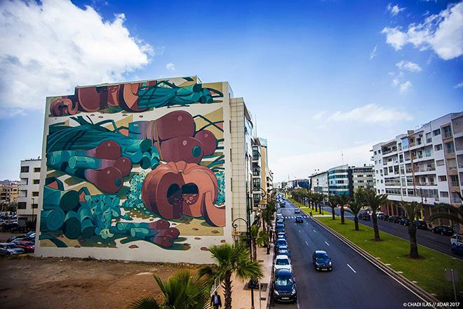 Aryz- Jidar festival, Street art Rabat, 2017. photo credit: ©CHADI ILAS