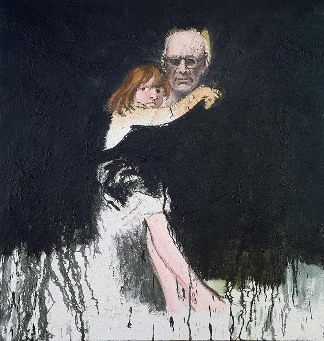Carlo Mattioli - Autoritratto con Anna, 1982, olio su tela, 80x70 cm, collezione privata