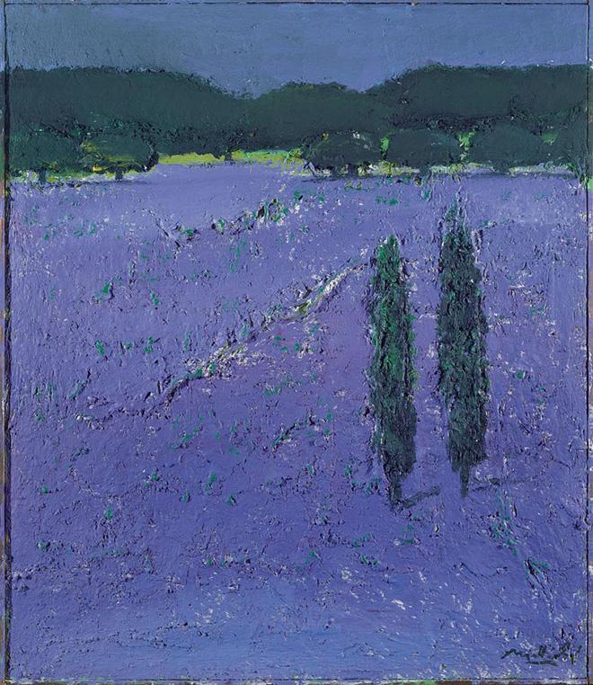 Carlo Mattioli - Campo di lavanda, 1980, olio su tela, 70x60 cm, collezione privata