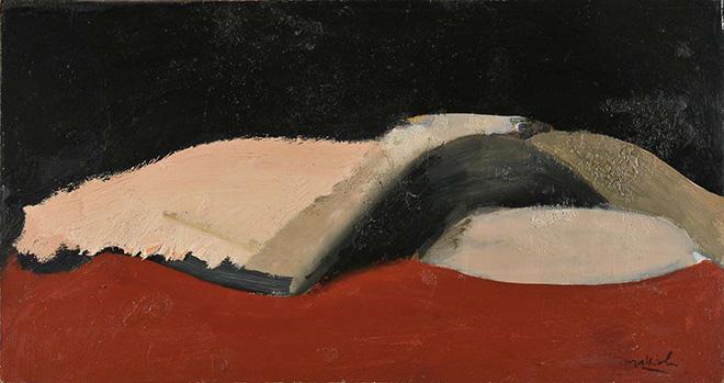 Carlo Mattioli - Nudo coricato, 1970, olio su tavola, 28x52,5 cm, collezione privata