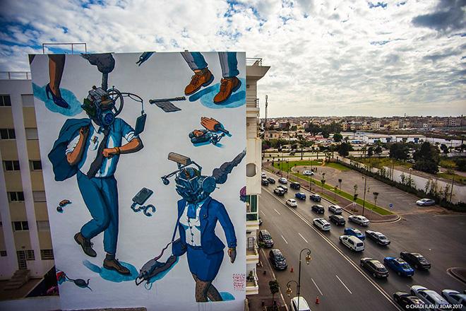 Liqen - Jidar festival, Street art Rabat, 2017. photo credit: ©CHADI ILAS