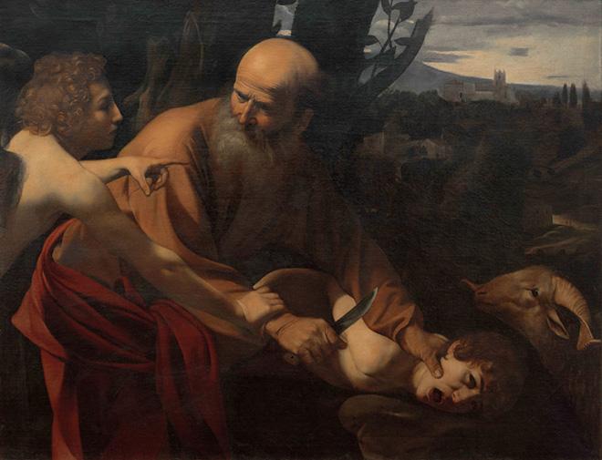 Michelangelo Merisi da Caravaggio - Sacrificio di Isacco, 1602-1603. Olio su tela, 152,5 x 182 x 11 cm. Galleria degli Uffizi, Firenze, Gabinetto Fotografico delle Gallerie degli Uffizi