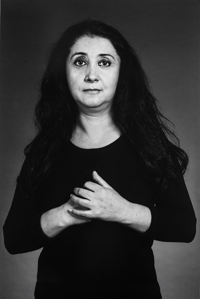 Shirin Neshat - Ilgara, from The Home of My Eyes series, 2015, Silver Gelatin Print and Ink, 152.4 x 101.6cm (40 x 60 in), Courtesy Written Art Foundation, Frankfurt am Main, Germany