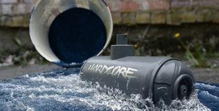 Biancoshock - Montana Submarine, 2017. 112 x 65 cm - bucket, wood, sylicone, acrylic, Montana Hardcore can, caps.