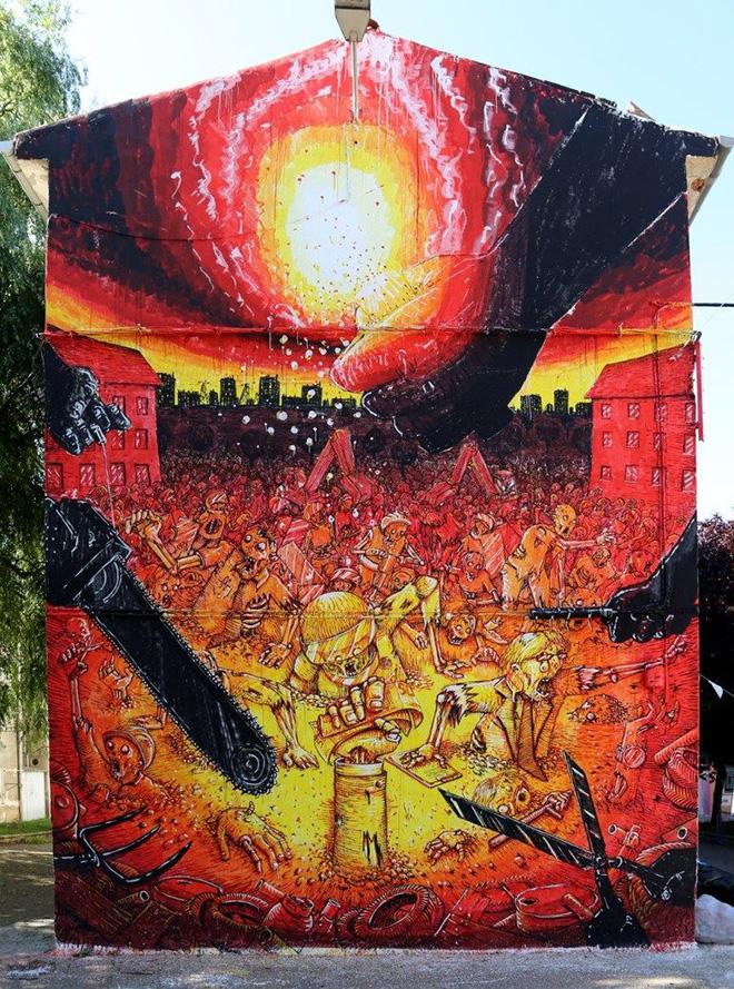 Blu - Errekaleor Bizirik, murales nel quartiere autogestito di Vitoria-Gasteiz, paesi Baschi (Es)