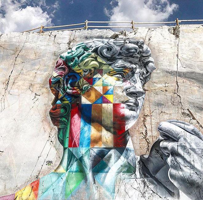 Eduardo Kobra - David multicolor, Cava Venedretta, Carrara