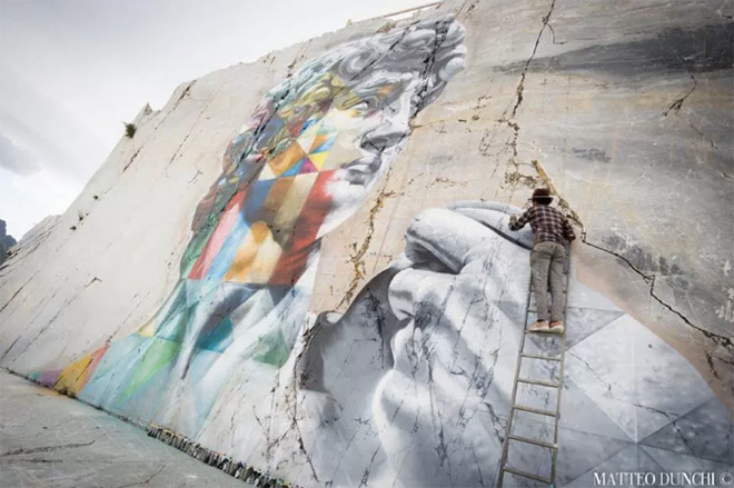 Eduardo Kobra - David multicolor, Cava Venedretta, Carrara. photo credit: Matteo Dunchi