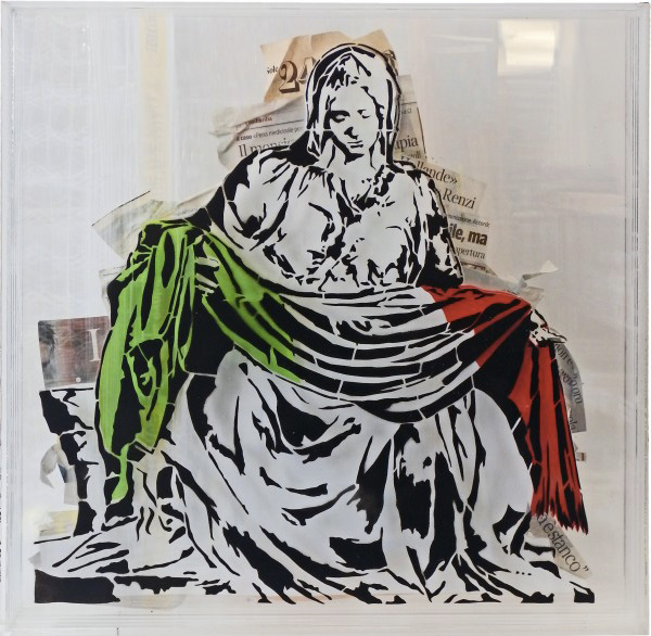 Mr. Savethewall - Pietà, 60x60, plexiglass