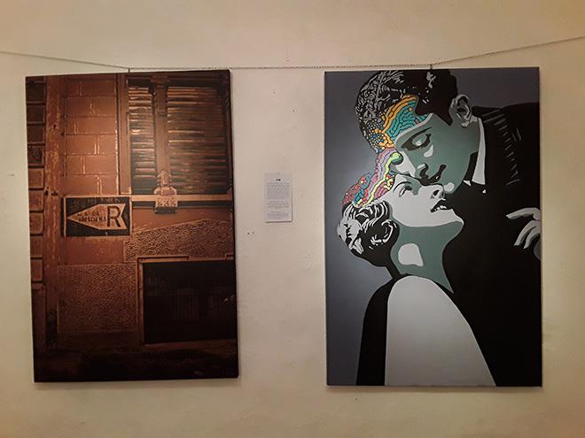 Zibe - La Memoria non si cancella, stencil su tela, 2011 + Pensiero fluido, stencil su tela, 2015