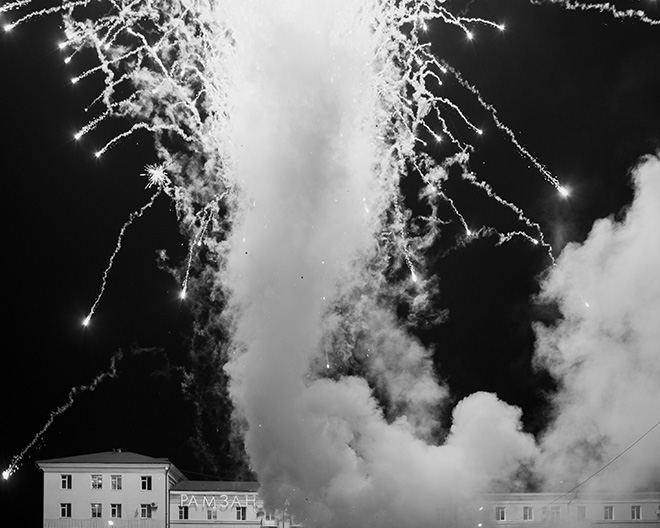©Davide Monteleone - Spasibo. Republic of Chechnya, Russia, 03/2013. Fireworks in the main square of the city to celebrate the 10th anniversary of the Constitution Day.