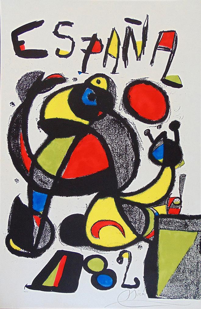 Joan Miró - Coppa del Mondo Spagna 82, 1981, litografia, cm 95,3x60