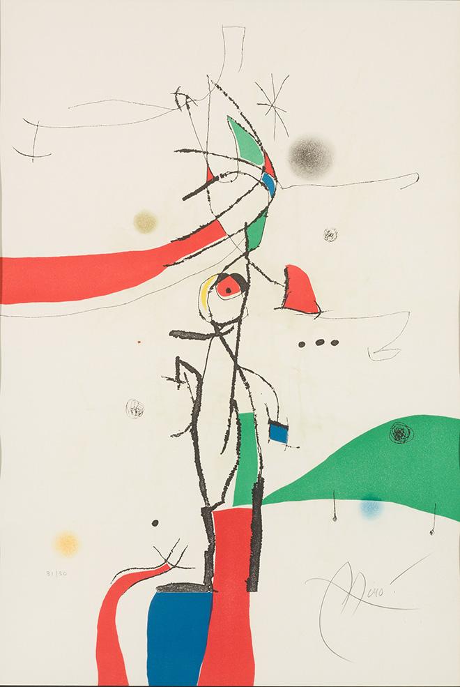 Joan Miró - Demi-Mondaine à sa fenêtre, 1975, incisione ad acquatinta, cm 92x63,5