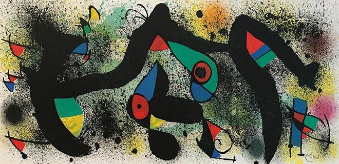 Joan Miró - Senza Titolo 2, 1974, litografia a colori, cm 27,8x56,5