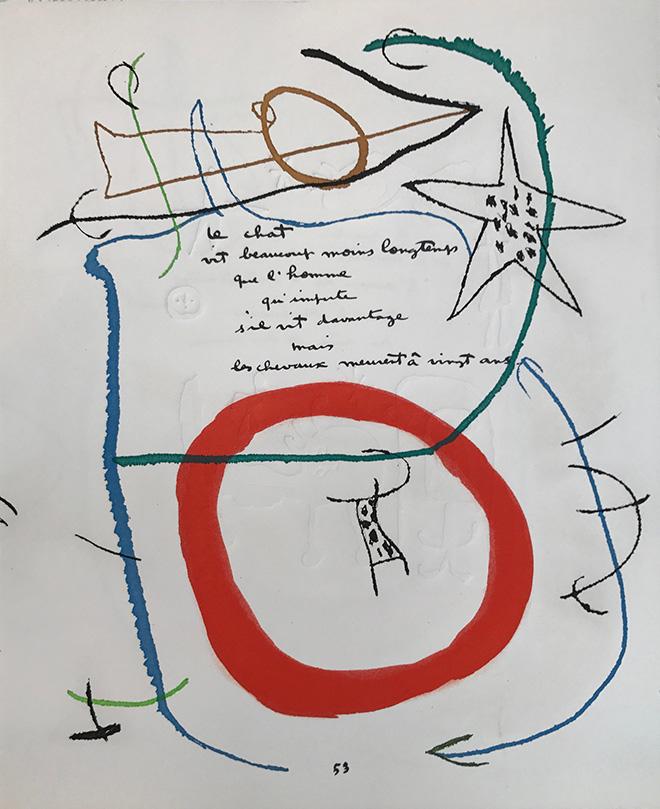 Joan Miró - Senza Titolo, 1975, incisione dal libro Adonides con poesia di Jacques Prévert, cm 40x33,5