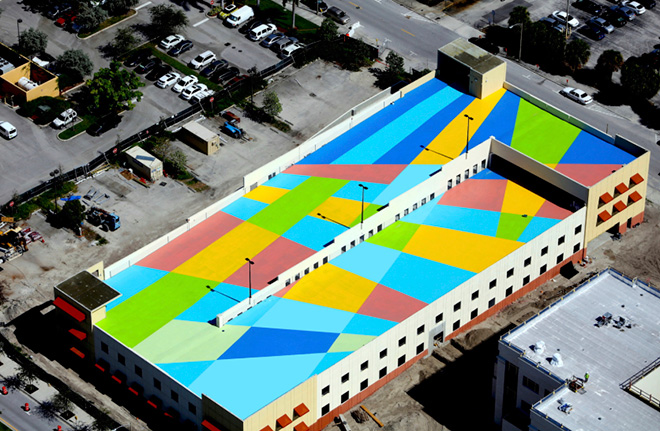 Cecilia Lueza - SKYLANES, Rooftop Mural, Location: 4th District Court of Appeal Parking Garage, Downtown West Palm Beach FL. Photos by Dunn's Aerial Photography, August 2017.