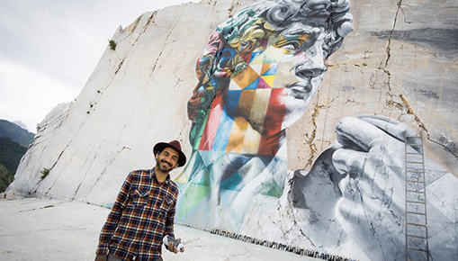 Eduardo Kobra - Il David multicolor nella cava di marmo