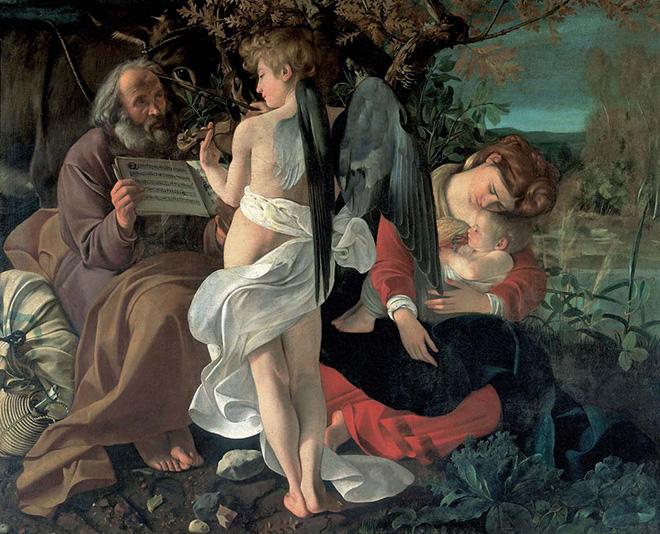 Michelangelo Merisi - Riposo durante la Fuga in Egitto (1597), olio su tela; 135,5 x 166,5 cm Roma, Galleria Doria Pamphilj