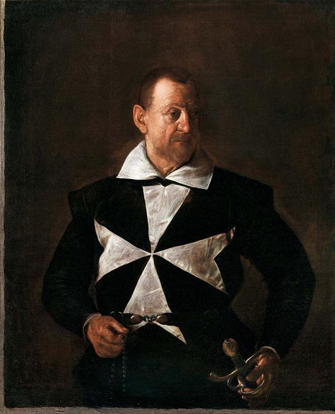 Michelangelo Merisi - Ritratto di Cavaliere di Malta (Alof de Wignacourt?) (1607-1608), olio su tela; 118,7 x 95,7 cm; inv. O.d.A. n. 717 Firenze, Galleria Palatina di Palazzo Pitti.