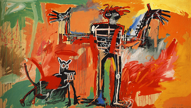 Jean-Michel Basquiat - Boy and dog in a Johnnypump, 1982
