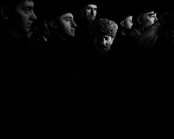 ©Davide Monteleone - Spasibo. A group of men leaving leaving the Akhmad Kadyrov Mosque in Groznyj