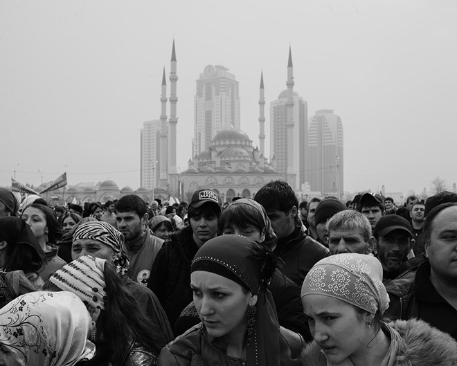 ©Davide Monteleone - Spasibo. A group of activists in the main square of Groznyj
