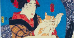Utagawa Kuniyoshi - Ragazza che gioca col gatto, Serie senza titolo di donne che si riflettono allo specchio, circa 1845, silografia policroma(nishikie), 22,8x28,8 cm. Masao Takashima Collection
